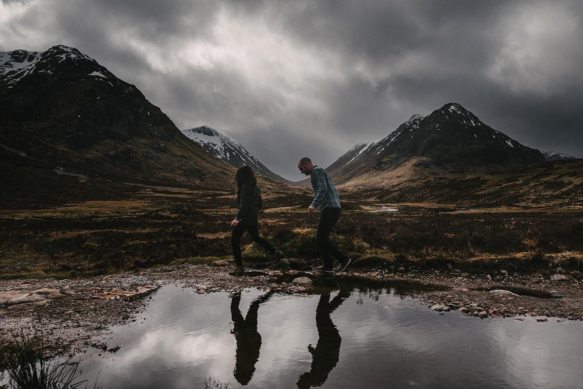 Reflections of couple, Glencoe, Scotland