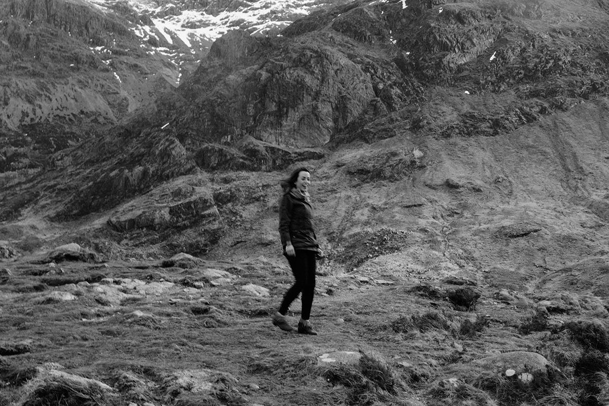 girl laughing glencoe mountains