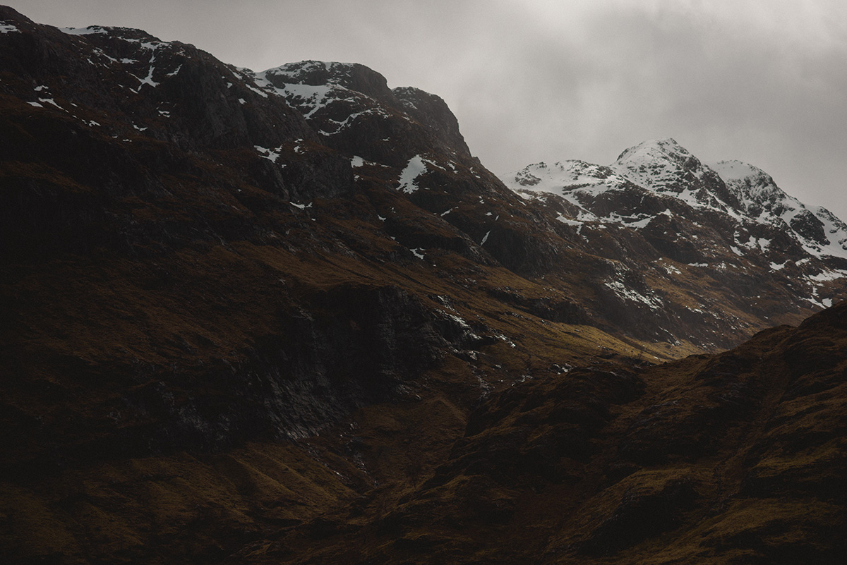 Scottish highlands snow capped mountains