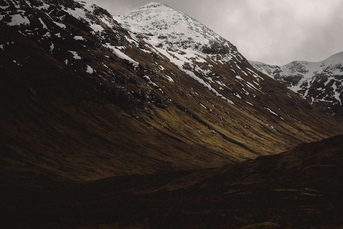 Glencoe snow capped peaks
