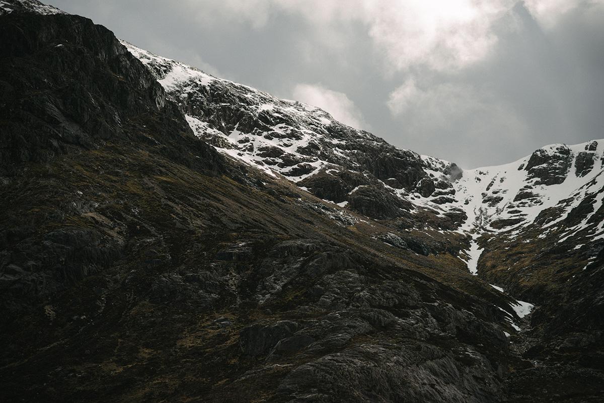 Glencoe snow capped mountain
