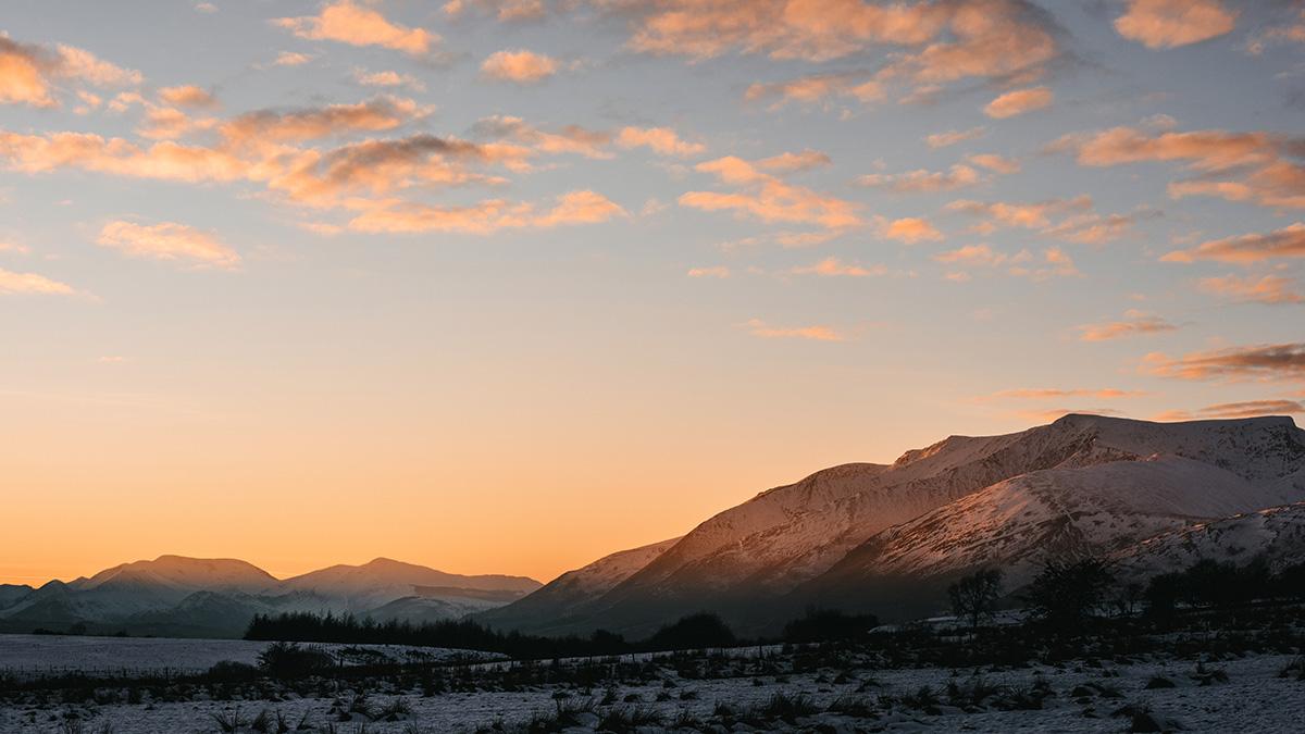 Sunset lake district national park