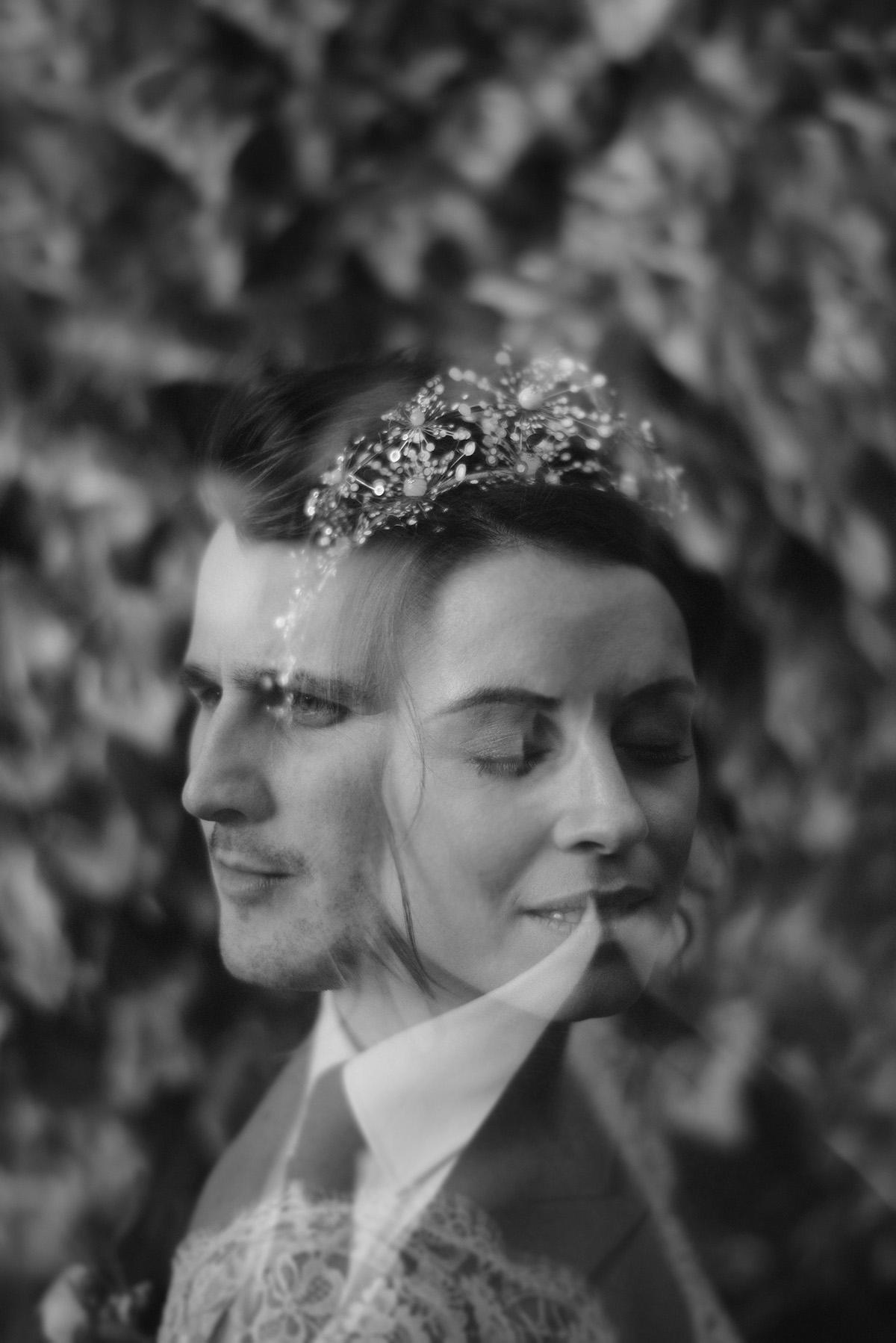 Intimate chic spring wedding double exposure