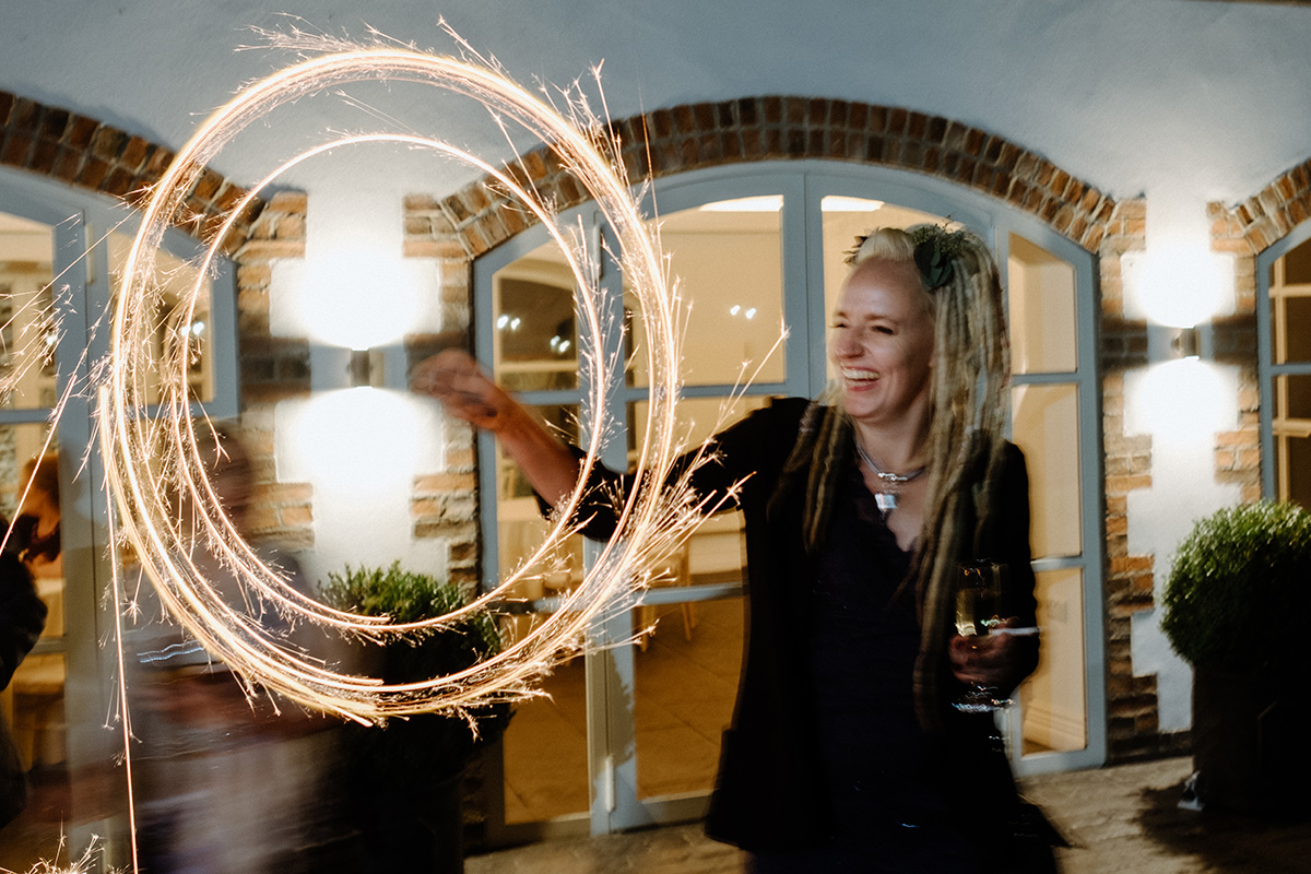 Sparklers Winter Wedding Larchfield Estate